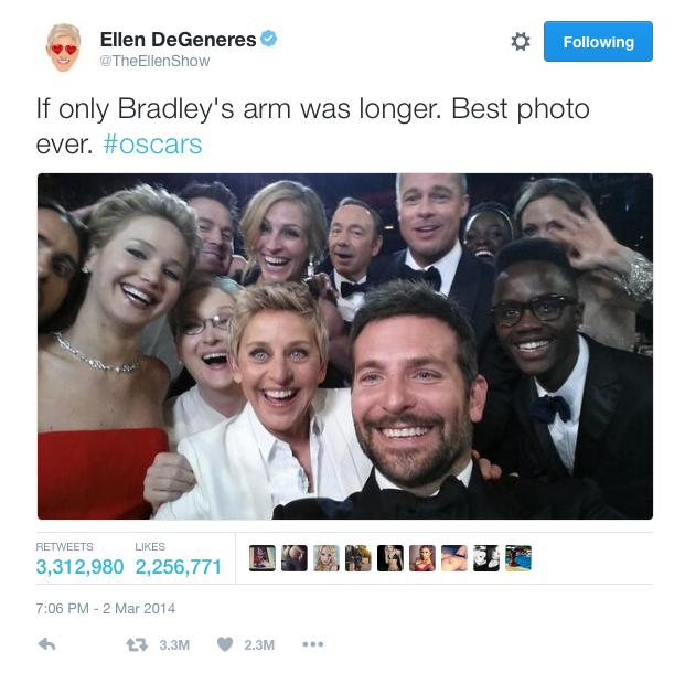Ellen Degeneres Oscar Twitter post