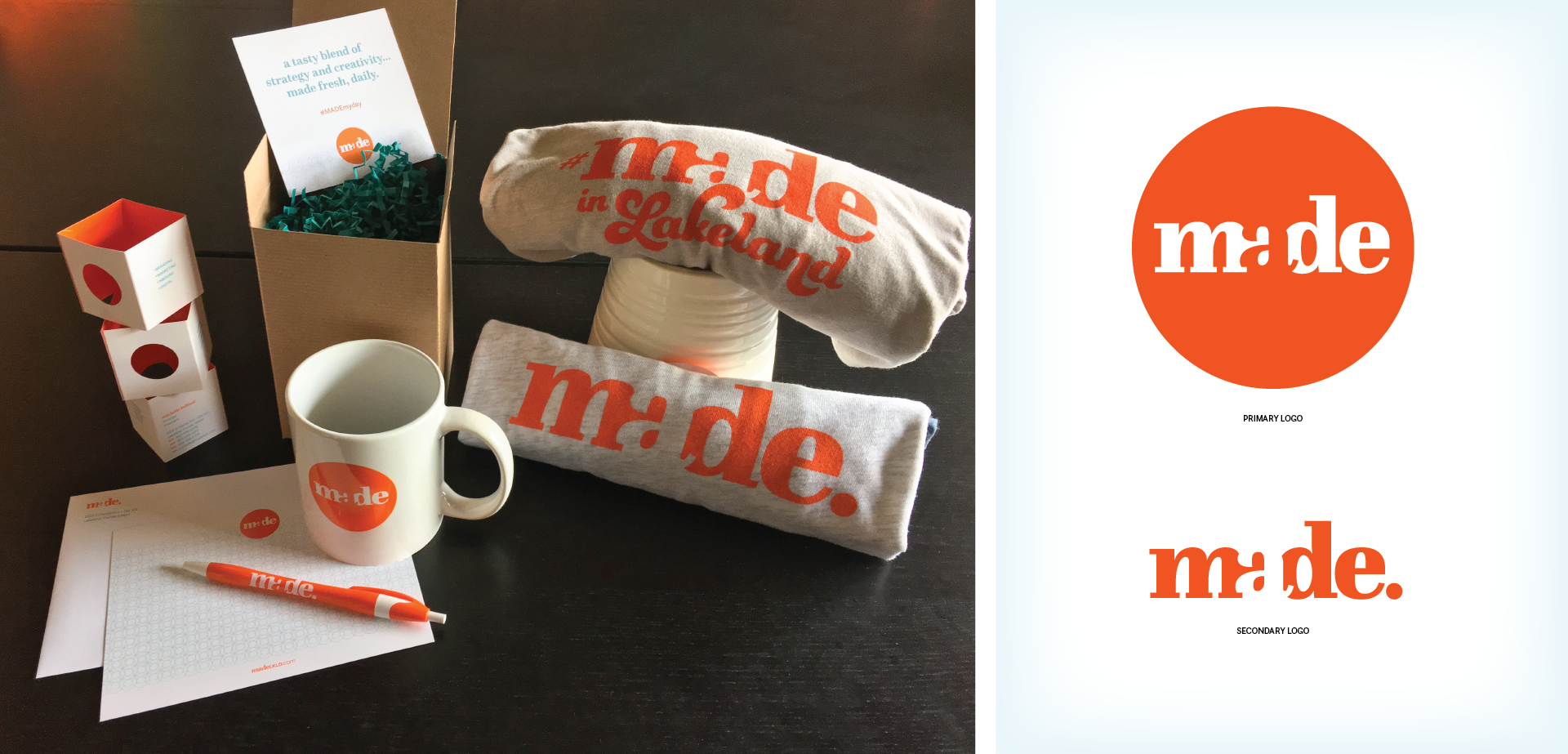 Self Promo Media T-shirt mug pen notecards collateral Silver Addy for MADE