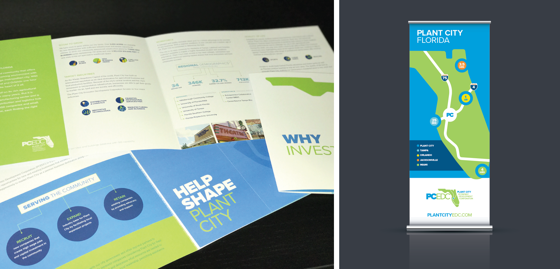 Plant City Economic Development Corporation Why Plant City Brochure and Banner Design Gold Addy for MADE