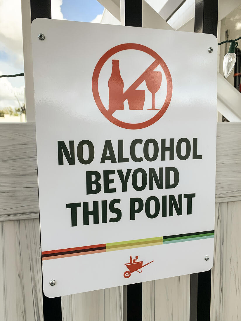 The Yard on Mass No Alcohol Sign