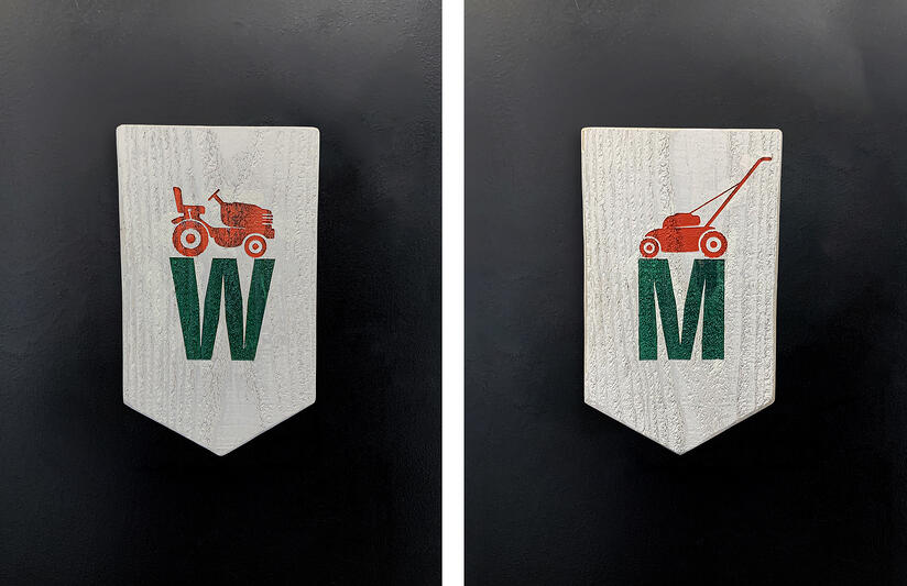 The Yard On Mass Men and Women's Restroom Signs
