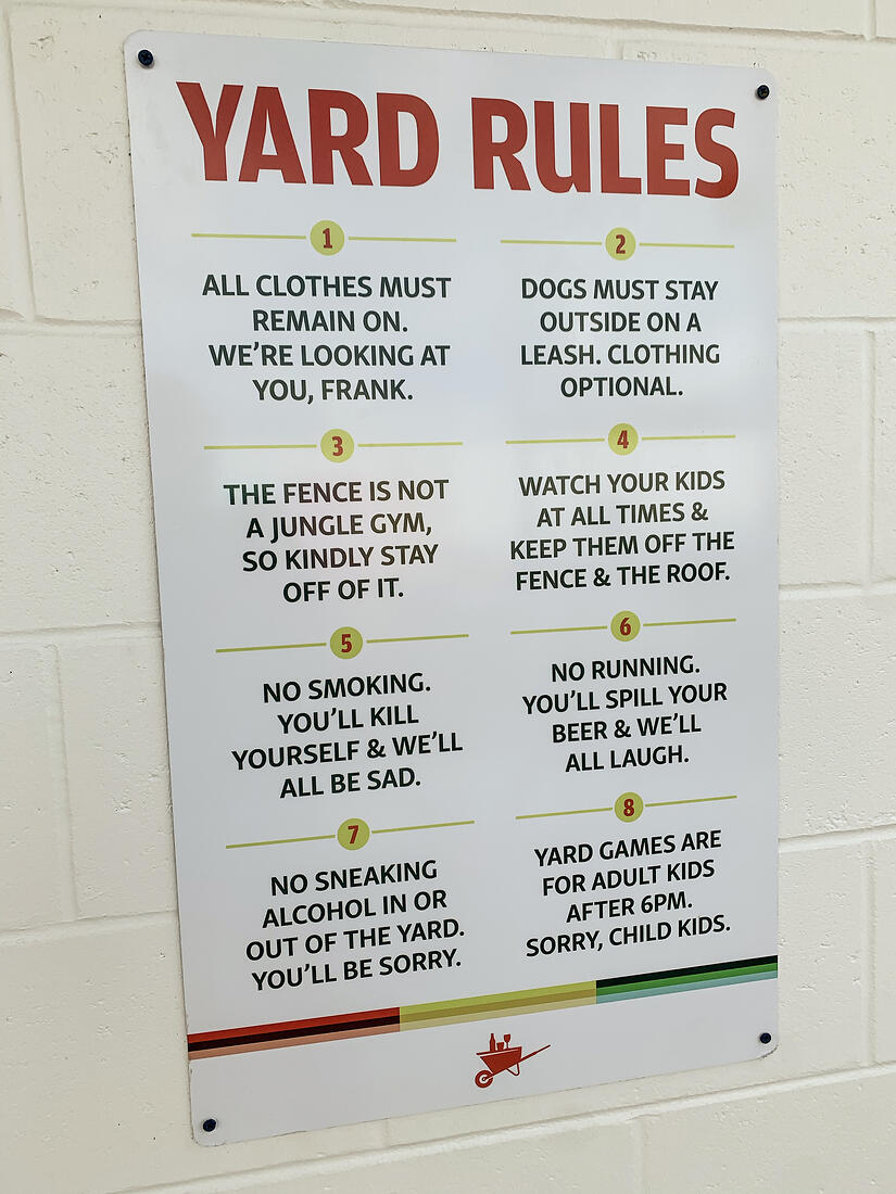 The Yard On Mass Yard Rules Sign